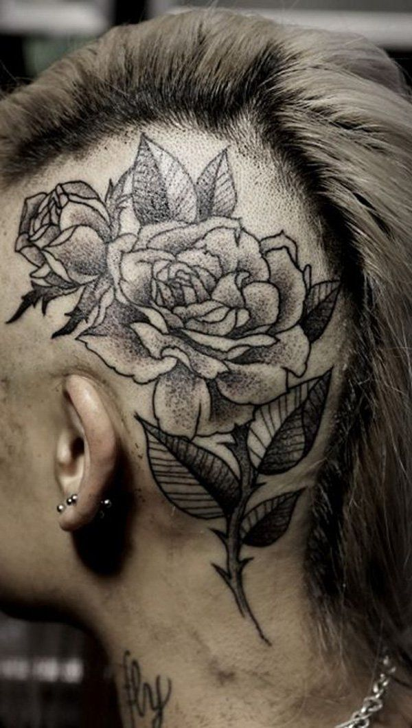Rose tattoo on the head - 45 Crazy Tattoos on Head  <3 <3