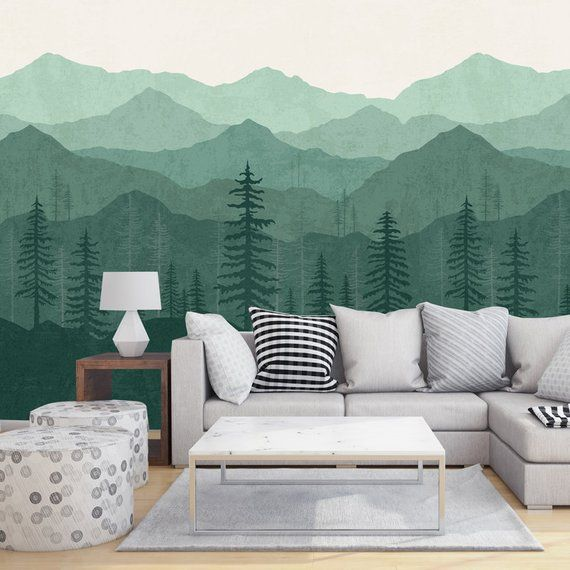 Mountain Wallpaper Woodland Wallpaper Forest Teal Green Ombre