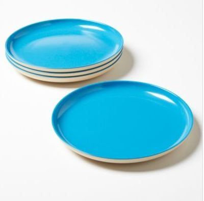 Bright blue dinner plates make any BBQ or potluck dish pop!