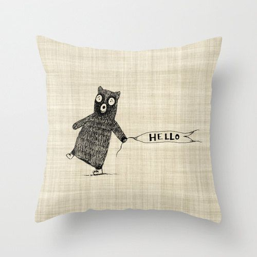 Bear Nursery and Childrens Home Decor Throw Pillow Cover Handlettered Illustrated Burlap Style Decorative Throw Pillow