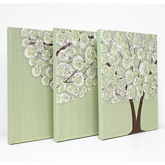 Canvas Art Purple and Green Tree Painting Triptych by Amborela, $115.00