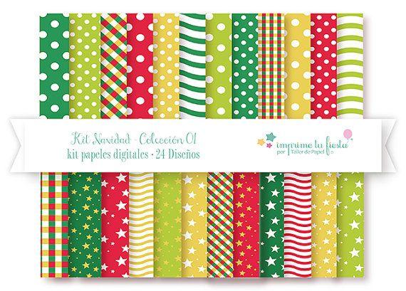 Lindos Papeles Digitales para hacer Adornos y Guirnaldas para esta Navidad! y lo mejor puedes imprimirlos todas las veces que quieras!! #digitalpapers