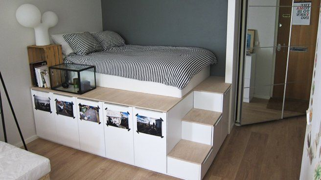 10 best Raumgestaltung images on Pinterest Bedroom ideas, Storage - bett regal stauraum ablage