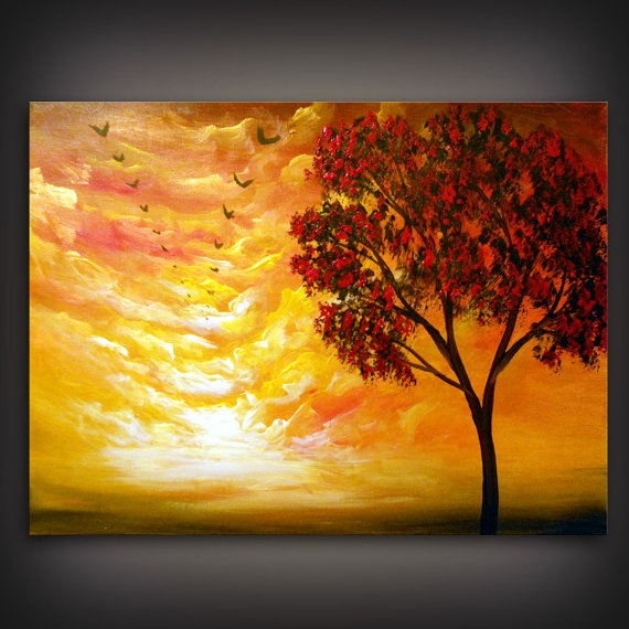 palette knife painting tree painting modern abstract by mattsart, $175.00