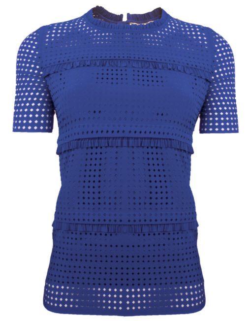 Goldie Estelle Santa t-shirt - kobalt blauw dames shirt met gaten en ruches, is onderdeel van een co-ord set.