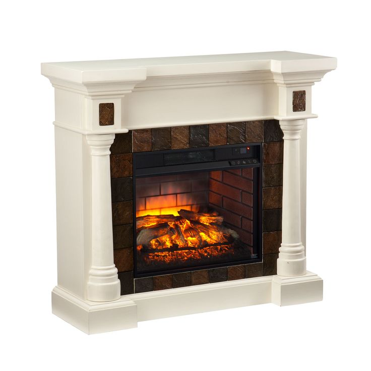 harper blvd carlton ivory faux slate convertible infrared fireplace os9478if beige off