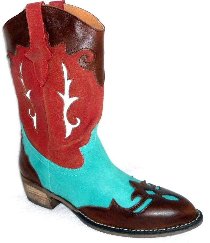 DIEGO DI LUCCA DRIFTER COGNAC TURQUOIS WESTERN LADIES COWBOY BOOTS 7 M #DiegodiLucca #CowboyWestern