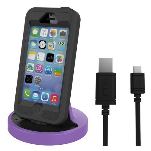 RND Apple Certified Lightning to USB dock for the iPhone (6 / 6 Plus / 6S/ 6S Plus/ 5 / 5S / 5C) or iPod Touch Data Sync and Charge 8-Pin Dock. Compatible with some phone cases. (Black and Purple). Our dock provides the ideal usage for charging and listening to music in your car in an easy viewable position. The dock and lightning cable are made with the highest quality plastic and nickel plated connectors to ensure fast stable and reliable charging. Our premium Apple Certified dock has…