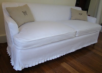 White Slipcover With Small Pleated Ruffle At Bottom I