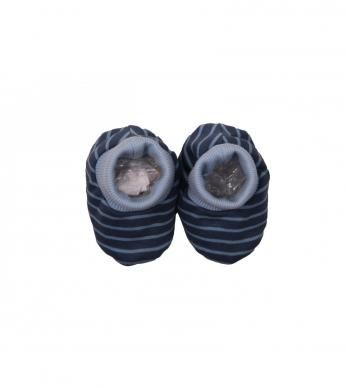 """Newborn boys booties in our fun """"space"""" stripe, finished with a Naartjie label.  100% cotton excluding trims."""