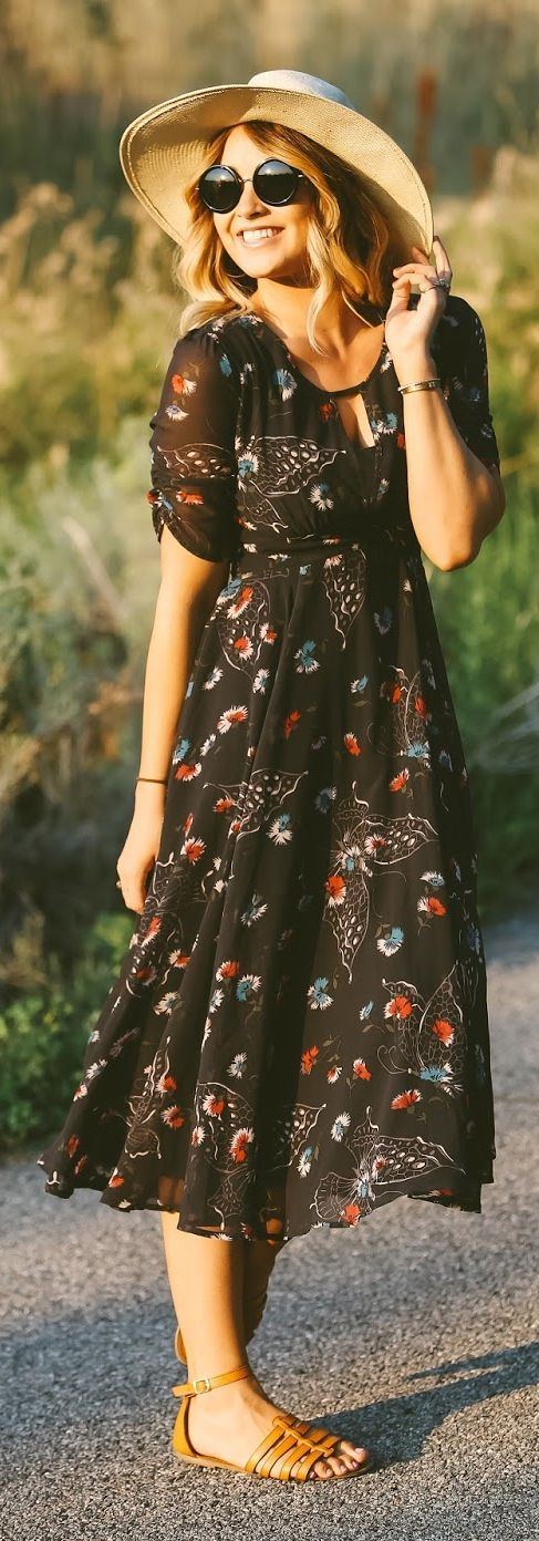 Black Printed Boho Midi Dress by Cara Loren