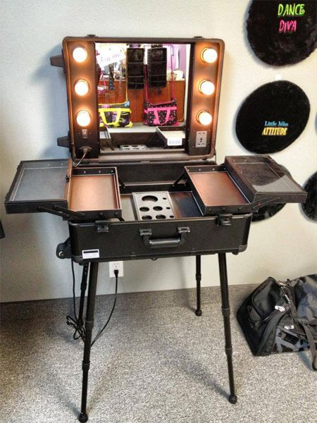 Makeup art box in a re-used rolling suitcase - via Dream Duffel