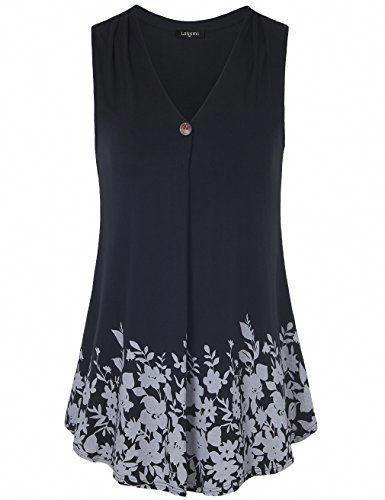 e1f67fdd842 Laksmi Womens Sleeveless Pleated V Neck A Line Floral Printed Casual Flow  Summer Tunic Tops #tunicsandleggingsforwomenCasual