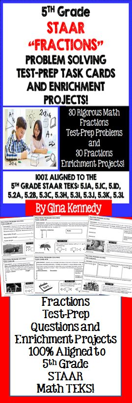 NO-PREP! 5th Grade STAAR Math Dual Purpose Fraction Test-Prep and Enrichment Task Cards. Engaging, authentic 5th Grade STAAR fraction math practice.   This resource includes thirty 5th Grade STAAR fractions problem solving test-prep questions and 30 no-prep fractions enrichment projects.  100% Aligned to the STAAR 5th grade TEKS: 5.1A, 5.1C, 5.1D, 5.2A, 5.2B, 5.3C, 5.3H, 5.3I, 5.3J, 5.3K, 5.3L  NEVER WORRY ABOUT CHALLENGING YOUR STUDENTS AGAIN!$