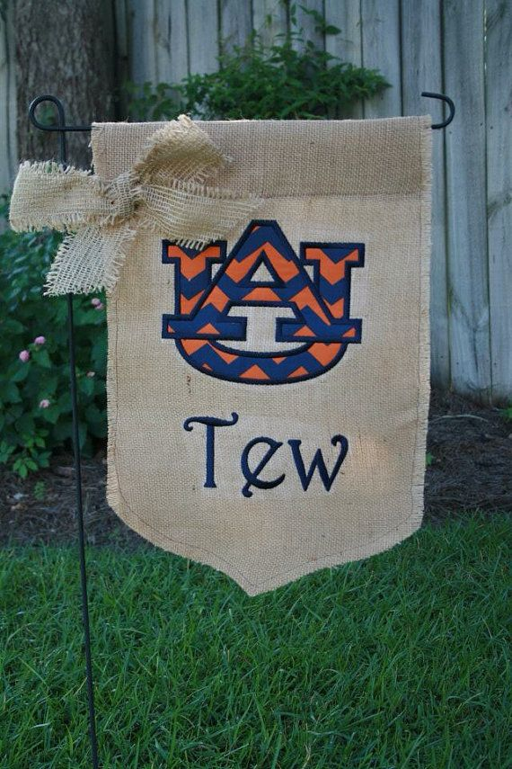 Auburn Burlap Personalized Garden Flag By StitchedsoSweet On Etsy, $27.00