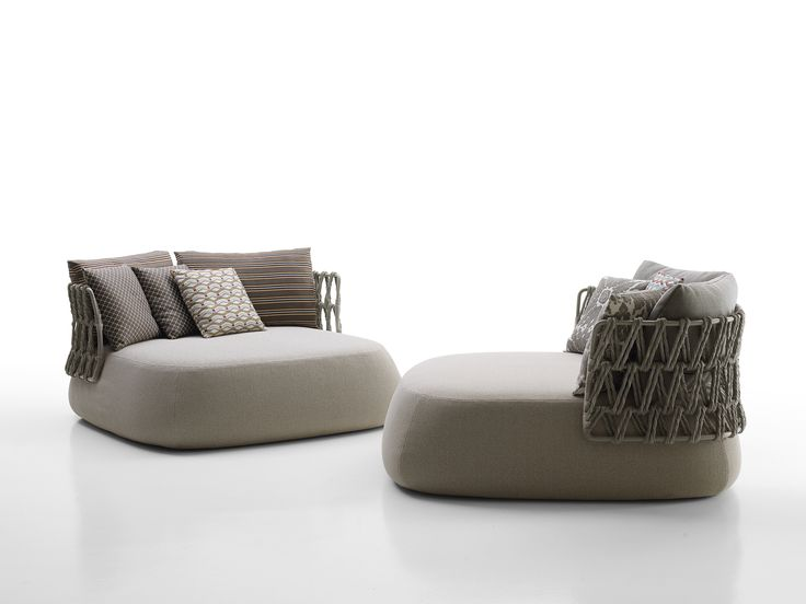B&B Italia FAT-SOFA OUTDOOR - seating system by Patricia Urquiola  The rounded, soft and sinuous shapes of the Fat-Sofa seating system are the base for the  new outdoor version, characterized by a brand new interlacing design. Its fully padded seat is  accompanied by a metal frame backrest that supports the original weave, creating a special  play of fullness and emptiness.
