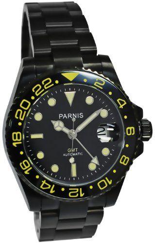PARNIS GMT-Automatikuhr Modell 2004 Herrenuhr PVD-beschichtet Edelstahlarmband Drehlünette mechanische Armbanduhr