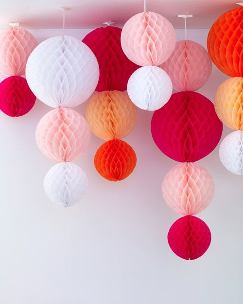 Paper hanging globe decorations -- Bridal Shower