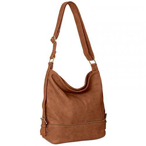 CASPAR TS732 Damen Umhänge Tasche, Farbe:cognac
