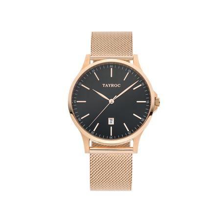 Reloj caballero TAYROC Meshband Oro rosado.  Con un elevado índice de elegancia y sofisticación, este reloj se convierte en uno de los más significativos de la firma. Su impecable diseño con malla milanesa, esfera negra y color dorado rosado hacen que el tiempo pase con estilo y clase. Ideal para añadir un toque de glamour a tu estilo.