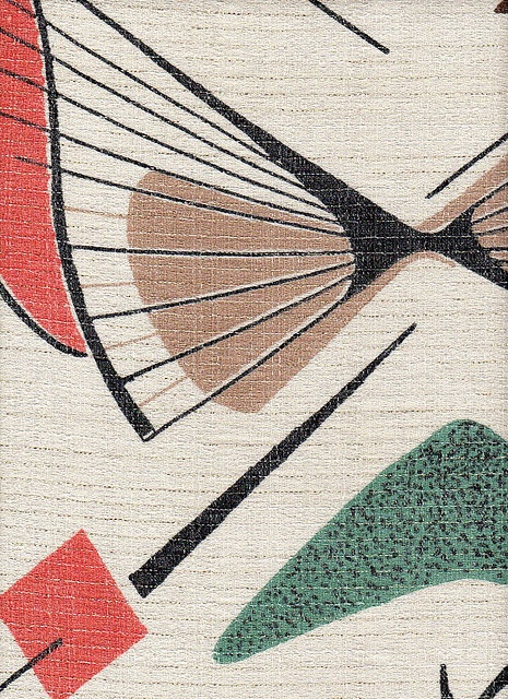 1950s - BARKCLOTH, draperies - (satellite motif, sputnik, mid century modern, space era, atomic design, interior decor)