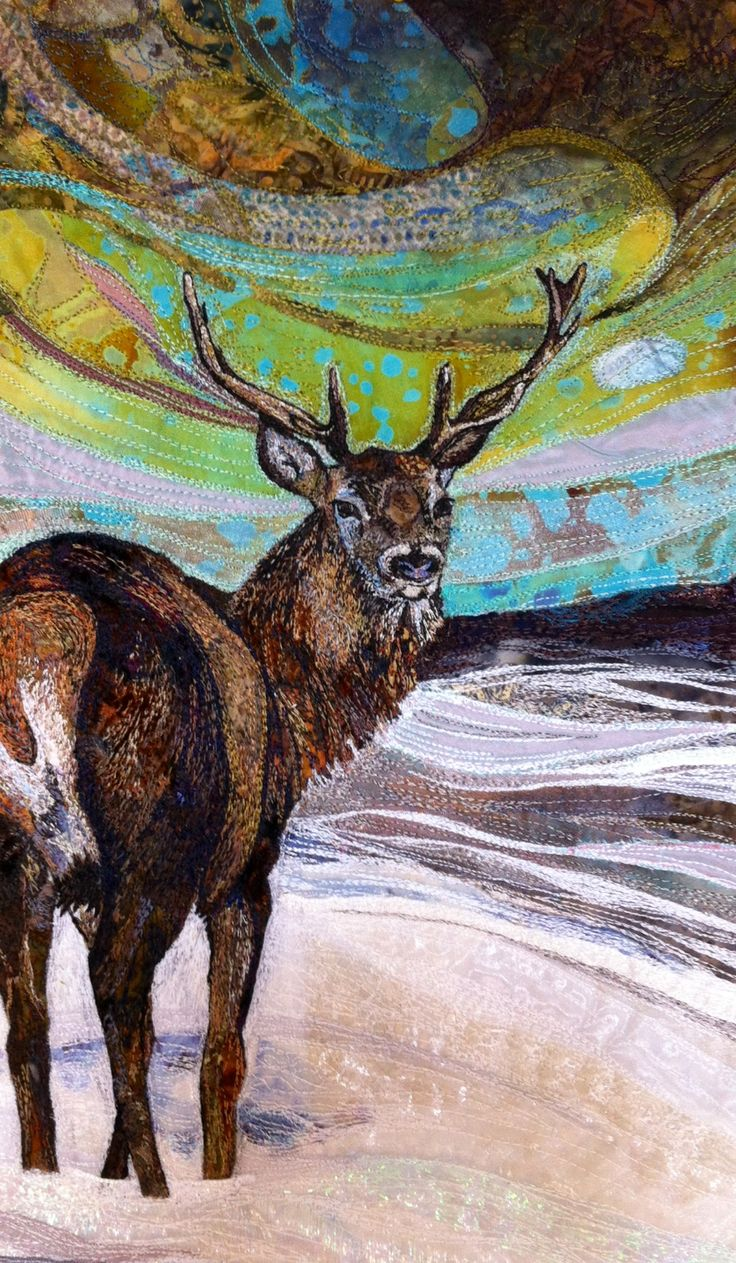 Stag embroidered textile by Rachel Wright.  #stag #embroidery #textileart…