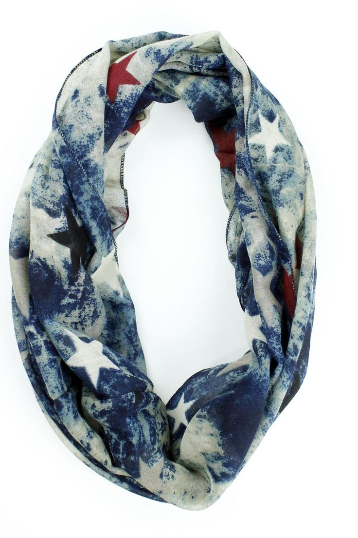 """Digital print US Flag infinity scarf. Perfect for 4th of July or any other patriotic holiday.    Dimensions: Approx 32"""" loop.   US Flag Scarf by Violet Del Mar. Accessories - Scarves & Wraps San Diego, California"""