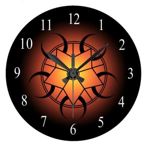 Orange Yellow And Black Celtic Crop Circle Large Clock