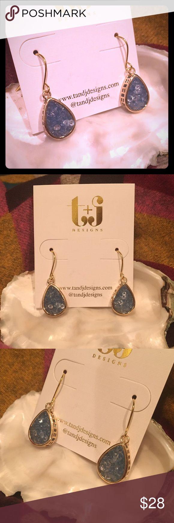 "HP💙 Aqua Rock Crystal Teardrop Earrings 18k Gold 💙💙💙 HOST PICK for 12-6-16 #POSHLOVEFEST TOTAL TRENDSETTER PARTY   💙💙💙  Aqua blue genuine rock crystal Druzy earrings. 18k gold-plated metal. NO nickel or lead in the metal. The teardrop measures just over 1/2"" long; earring measures just over 1"" long. The first three photos show the EXACT pair of earrings you will receive. 💙💙💙 (#2) T&J Designs Jewelry Earrings"