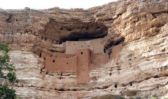 Montezuma Castle is one of a number of well-preserved ancient dwellings in north central Arizona, including the Wupatki, Tonto, Walnut Canyon, and Tuzigoot national monuments. It is probably the most spectacular; an imposing 20 room, 5-story structure built into a recess in a white limestone cliff about 70 feet above the ground.