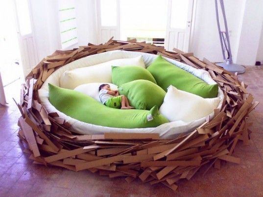 Giant Birdsnest Bed is fun for kids and Big Enough for a Co-Sleeping Family ~ interesting!