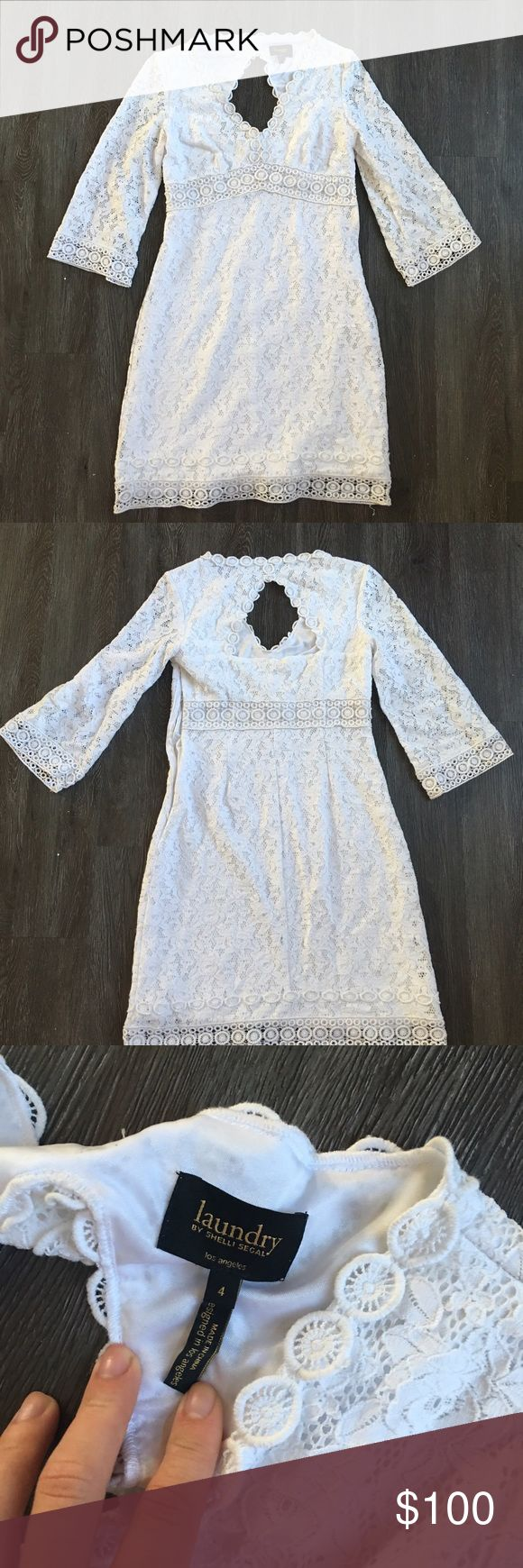 Laundry by Shelli Segal White Lace Dress Laundry by Shelli Segal White Lace Dress. Size 4. Worn once. Laundry by Shelli Segal Dresses Long Sleeve