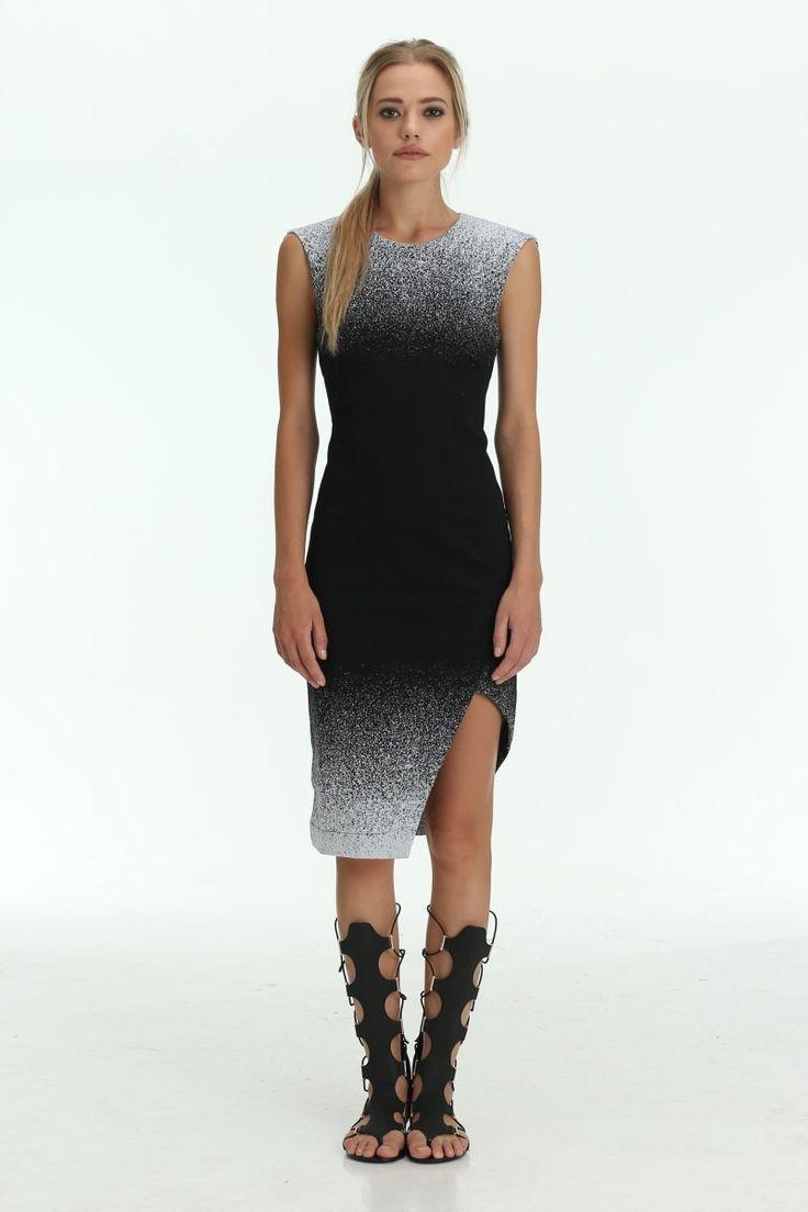 The Shanti Butterfly - Black / White Skyline Midi Dress With Side Split