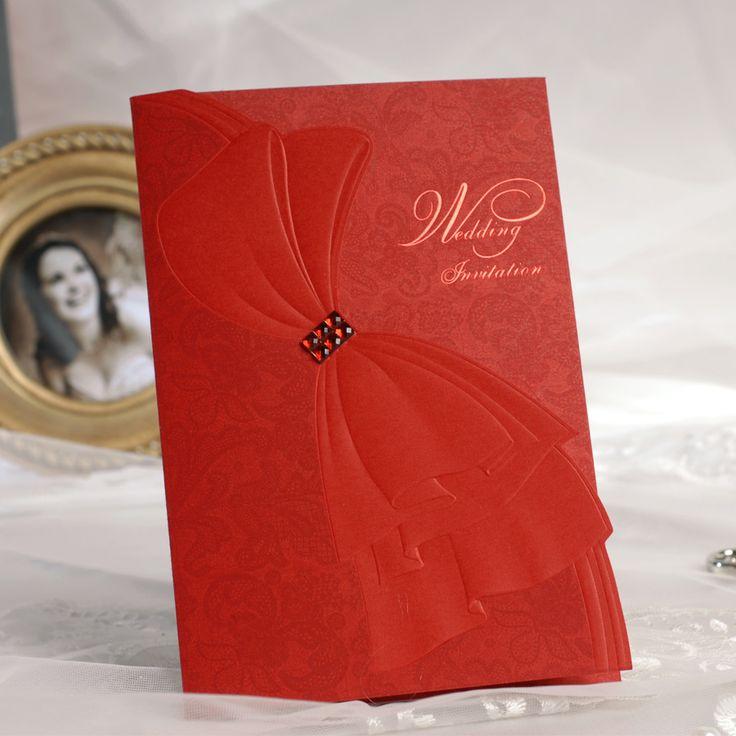Elegant Wedding Invitations with Crystals   2013 New Promotion 50pcs/lot red elegant bowknot Wedding Invitation ...