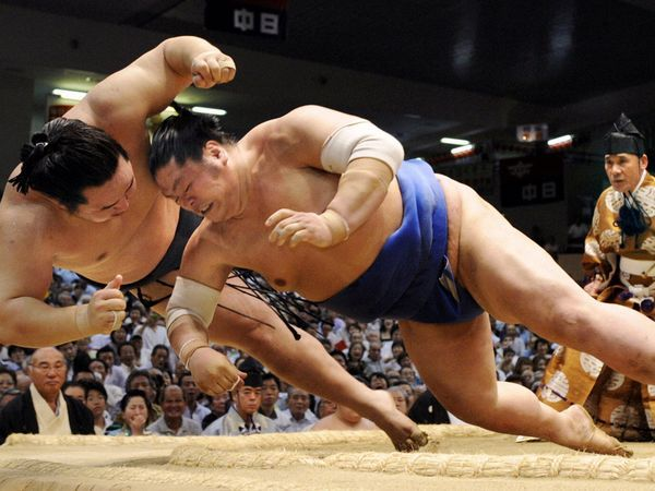 Sumo Wrestlers, Nagoya  Photograph by AP    Sumo wrestlers clash in a ring in Nagoya. Once supported by the patronage of emperors, Japan's national sport has roots going back nearly 1,500 years. Short but intense, most matches last less than a minute, with the grandly attired gyoji serving as referee.