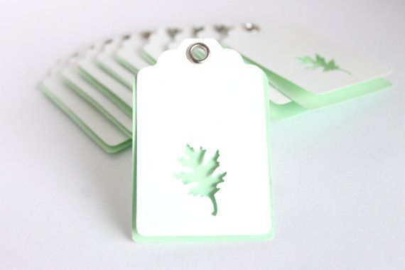 Oak Leaf Gift Tags in Melon Green!
