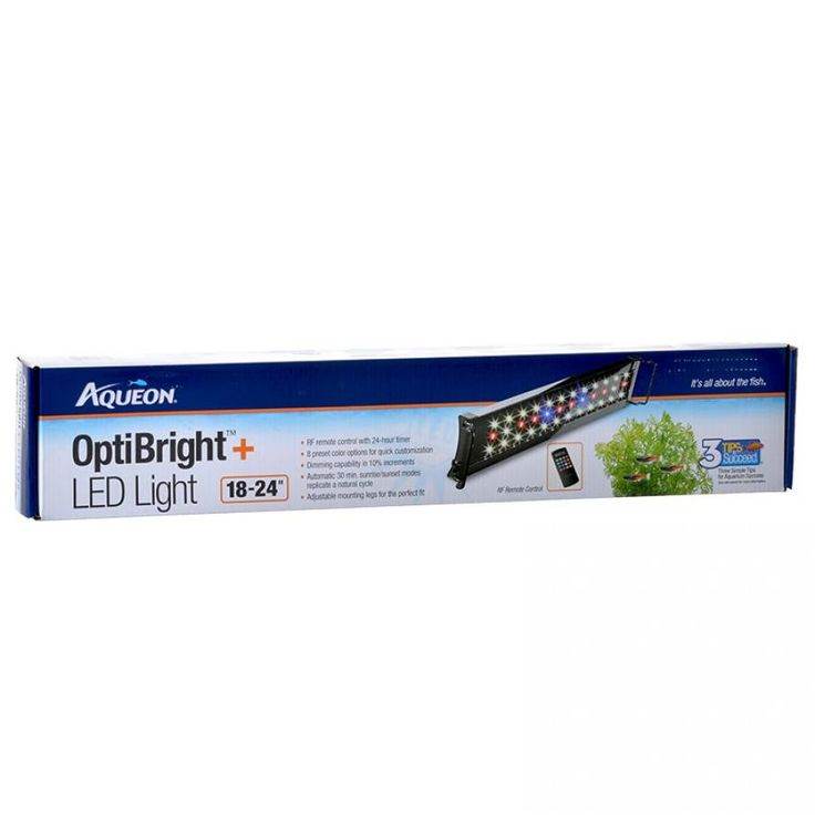 """🐠 18-24"""" Aqueon OptiBright Plus LED Aquarium Light Fixture features radio frequency remote control with 24-hour timer and large LCD screen. 8 Preset color options for quick customization."""