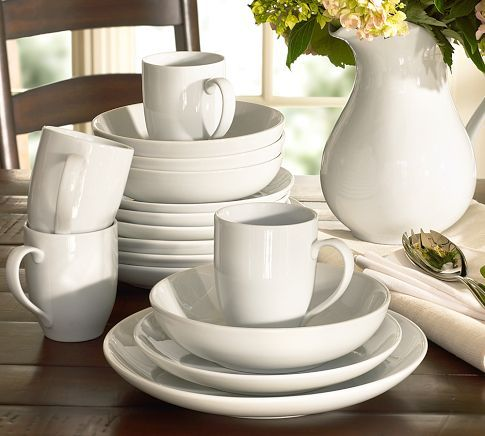 Pottery Barn: Great White Coupe Dinnerware Beautiful for entertaining, yet durable enough for everyday use. Crafted of high-fired, white-glazed porcelain. Available as a set of 4, or as a complete set of 16 that includes 4 of each piece. Microwave and dishwasher safe.