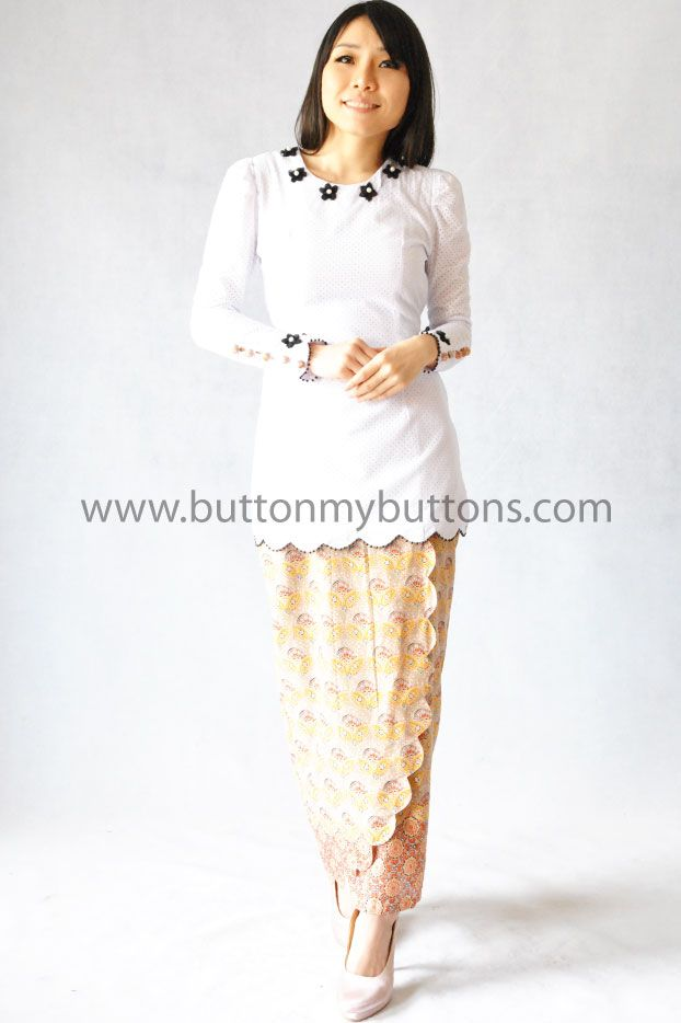 Batik Prints with Black 3D Flower | Button My Buttons by Shahida Shariff