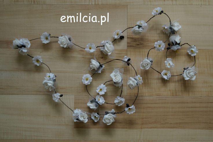 Girlanda kwiatowa ozdoby ozdoba do włosów 110 cm kwiaty koloru białego . Długość dowolna na zamówienie :) Wedding