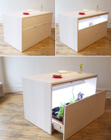 """Hydroponic Kitchen Island has a special drawer for growing a secret garden of culinary herbs right in your kitchen (I'm thinking some people will use it for a more """"recreational"""" crop)."""