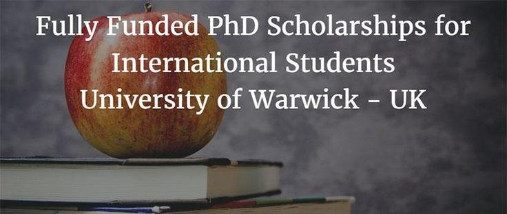 Chancellor's International PhD Scholarship at University of Warwick in UK