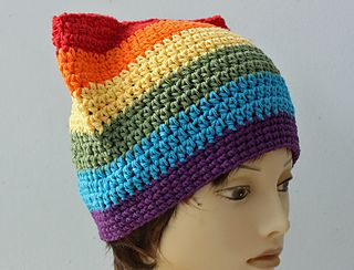 Gay Pride Rainbow Pussy Hat - free crochet pattern by Judy Stalus.