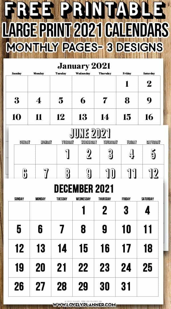 Free Printable Large Print 2021 Calendar - 12 month ...