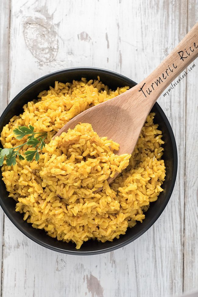 Turmeric Rice is one of our favorite options as a dinner side or a base for an all-in-one dinner bowl. It's SUPER EASY to make. We just throw rice in our rice cooker and stir in the tumeric and other spices. We also love that turmeric has lots of highly touted health benefits and that it's versatile and can be included in lots of different meals. We like making this Turmeric Rice which we sometimes include in a Chicken Shawarma Bowl or similar style dinner bowls. Give this turmeric rice