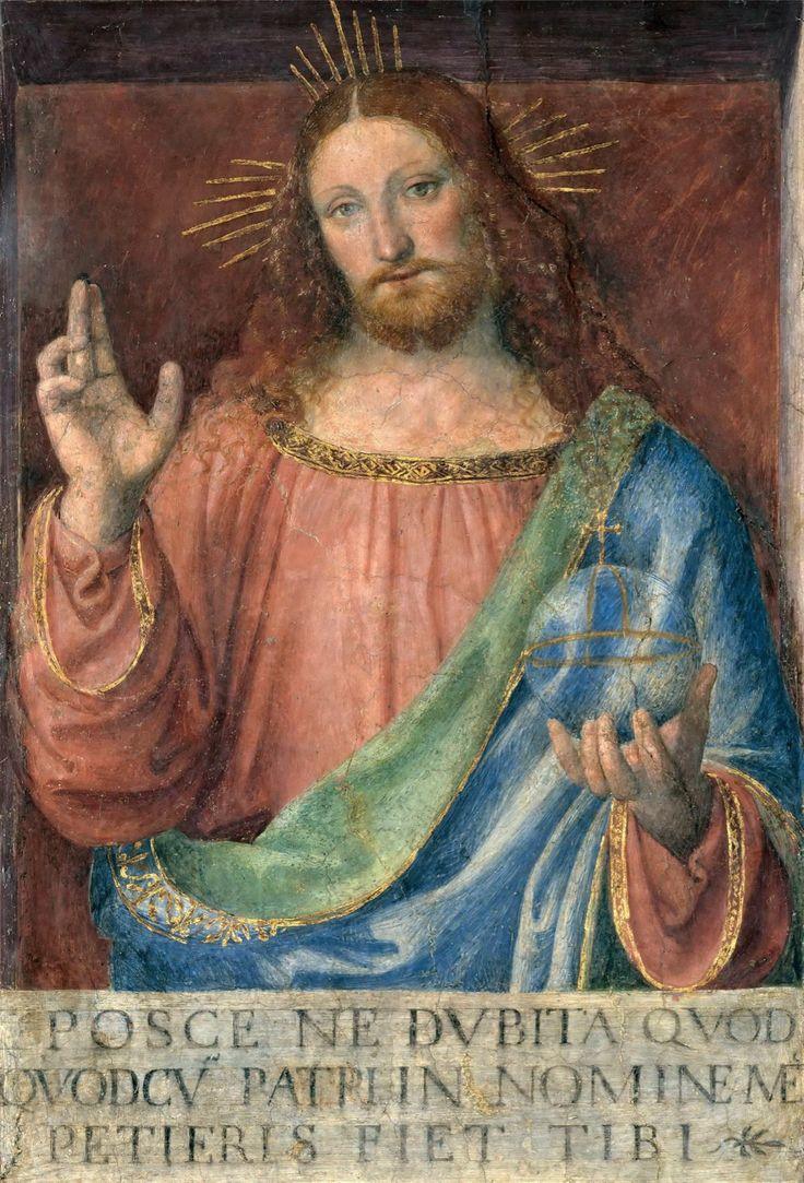 Bernardino Luini (1484/85–1532) - Blessing Christ fresco on canvas, 140 cm (55.1 in) x 110 cm (43.3 in).  Louvre https://commons.wikimedia.org/wiki/Category:Blessing_Christ_(Bernardino_Luini,_Louvre)