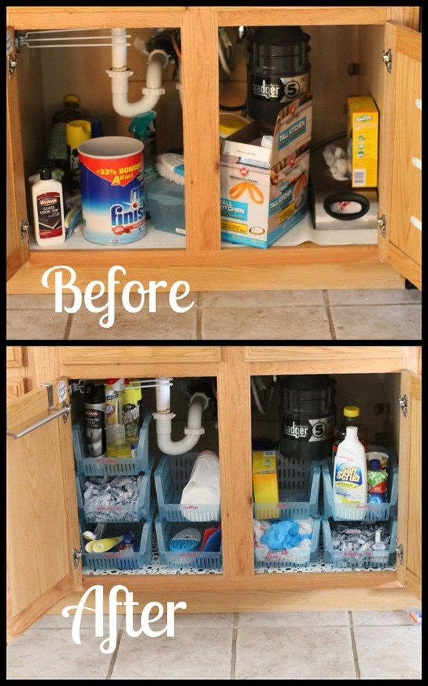 Under sink cabinet organization casa pinterest Kitchen under cabinet storage ideas