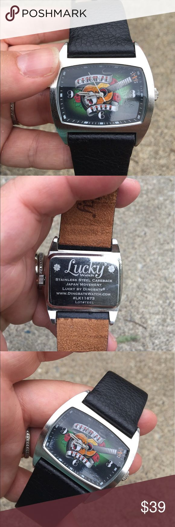 Lucky Brand Rebel Black Leather Watch EUC Lucky Brand Rebel Black Leather Watch EUC Lucky Brand Accessories Watches