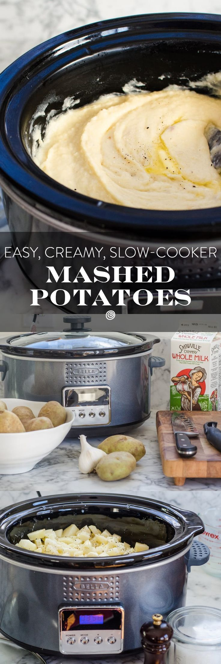 Creamy Slow Cooker Mashed Potatoes. This crock pot recipe is an incredible trick for preparing sides and side dishes to feed a crowd for a party or for a holiday like thanksgiving or christmas!