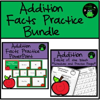 Are you looking for a way to practice Addition Facts every week in a non-overwhelming way? This Bundle includes a weekly Addition Facts Schedule, Addition Facts Practice Worksheets, and an Addition Facts Practice PowerPoint. The Addition Math Facts Worksheets and Schedule resource contains a 20 week Math Facts of the Week Schedule.